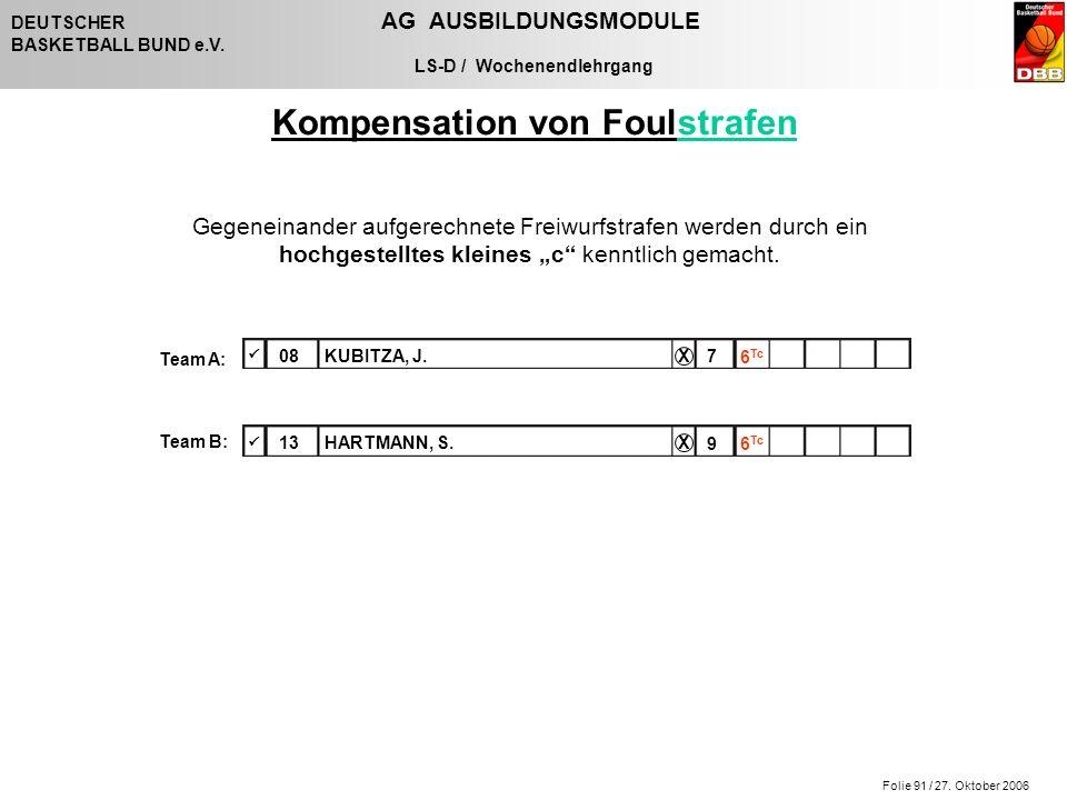 Folie 91 / 27. Oktober 2006 DEUTSCHER AG AUSBILDUNGSMODULE BASKETBALL BUND e.V. LS-D / Wochenendlehrgang Gegeneinander aufgerechnete Freiwurfstrafen w