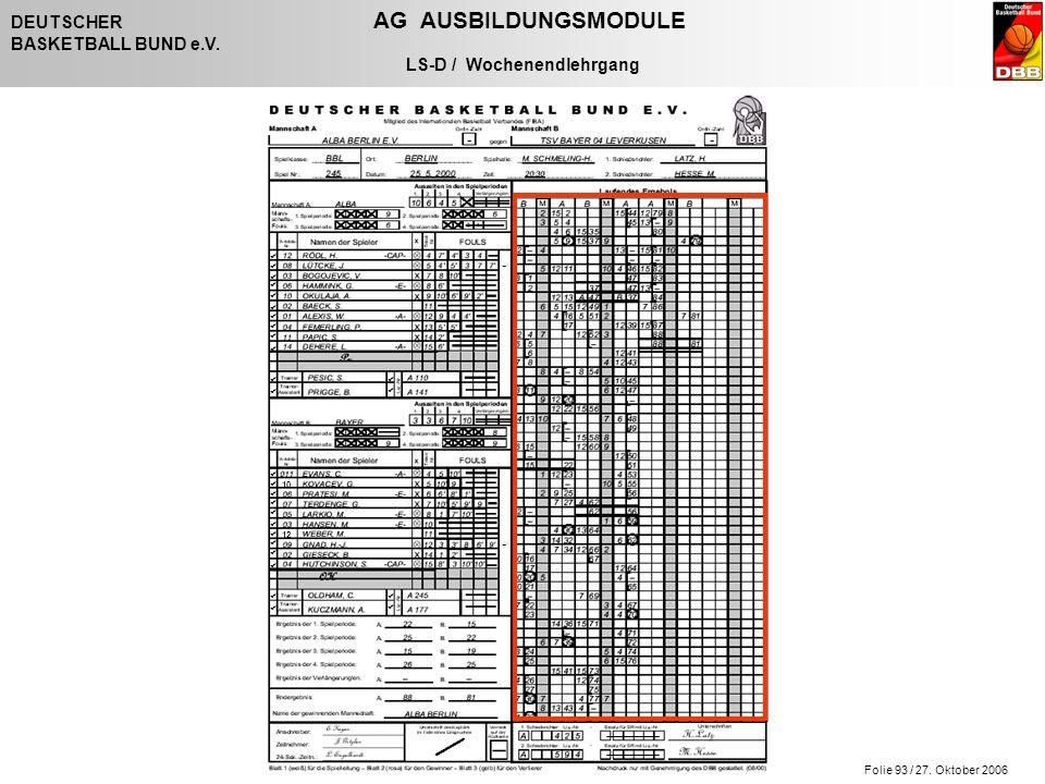 Folie 93 / 27. Oktober 2006 DEUTSCHER AG AUSBILDUNGSMODULE BASKETBALL BUND e.V. LS-D / Wochenendlehrgang - - - -                   