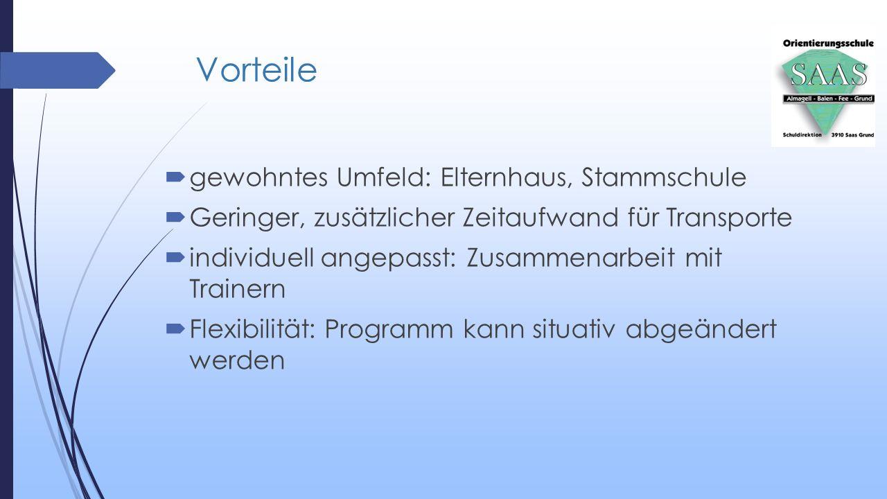 Vorteile  gewohntes Umfeld: Elternhaus, Stammschule  Geringer, zusätzlicher Zeitaufwand für Transporte  individuell angepasst: Zusammenarbeit mit T