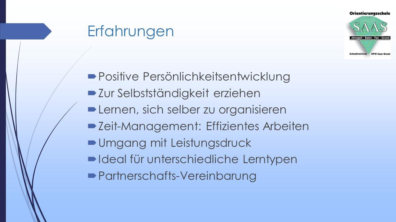 Erfahrungen  Positive Persönlichkeitsentwicklung  Zur Selbstständigkeit erziehen  Lernen, sich selber zu organisieren  Zeit-Management: Effiziente