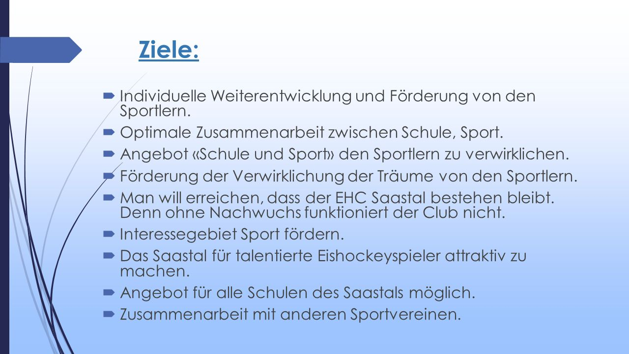Ziele:  Individuelle Weiterentwicklung und Förderung von den Sportlern.  Optimale Zusammenarbeit zwischen Schule, Sport.  Angebot «Schule und Sport