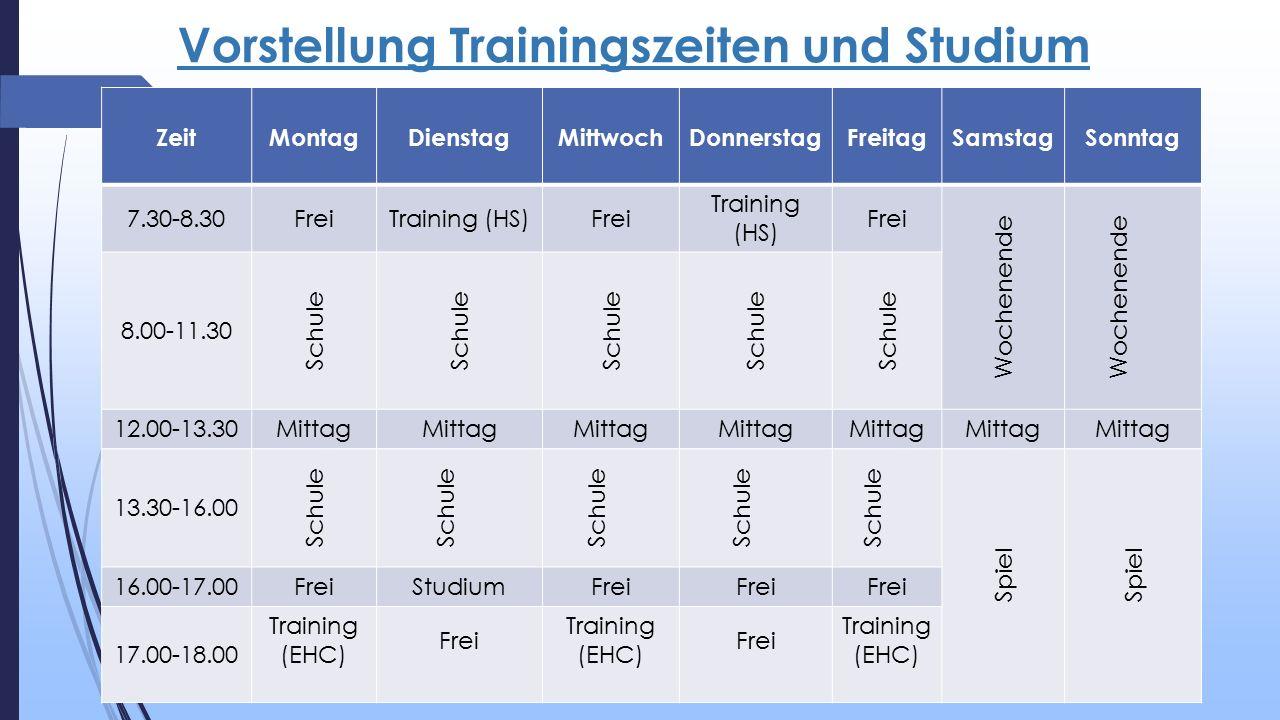Vorstellung Trainingszeiten und Studium ZeitMontagDienstagMittwochDonnerstagFreitagSamstagSonntag 7.30-8.30FreiTraining (HS)Frei Training (HS) Frei Wochenende 8.00-11.30 Schule 12.00-13.30Mittag 13.30-16.00 Schule Spiel 16.00-17.00FreiStudiumFrei 17.00-18.00 Training (EHC) Frei Training (EHC) Frei Training (EHC)