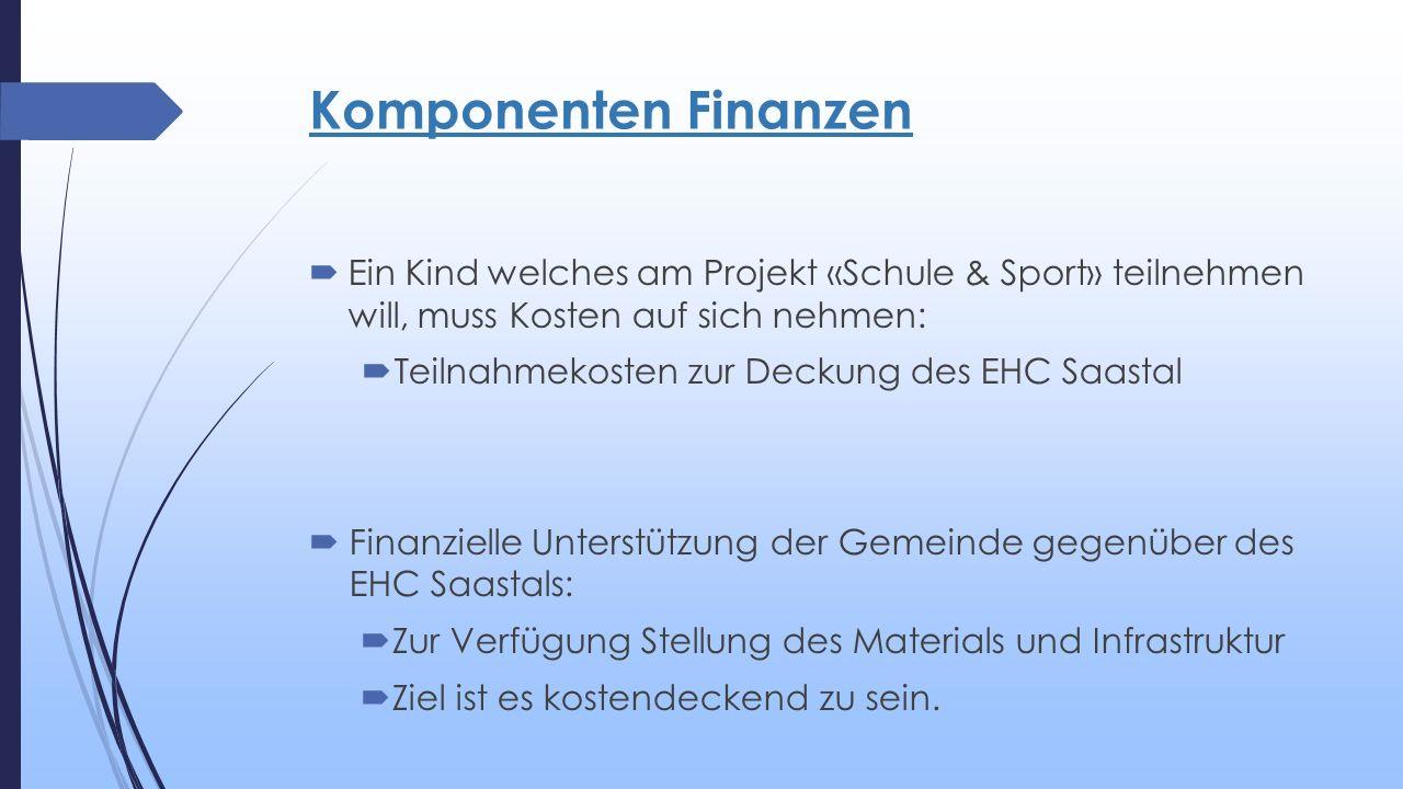 Komponenten Finanzen  Ein Kind welches am Projekt «Schule & Sport» teilnehmen will, muss Kosten auf sich nehmen:  Teilnahmekosten zur Deckung des EHC Saastal  Finanzielle Unterstützung der Gemeinde gegenüber des EHC Saastals:  Zur Verfügung Stellung des Materials und Infrastruktur  Ziel ist es kostendeckend zu sein.