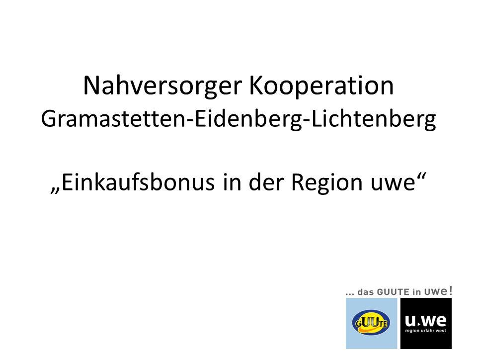 """Nahversorger Kooperation Gramastetten-Eidenberg-Lichtenberg """"Einkaufsbonus in der Region uwe"""