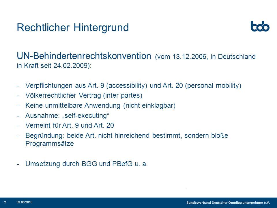 Rechtlicher Hintergrund UN-Behindertenrechtskonvention (vom 13.12.2006, in Deutschland in Kraft seit 24.02.2009): -Verpflichtungen aus Art. 9 (accessi