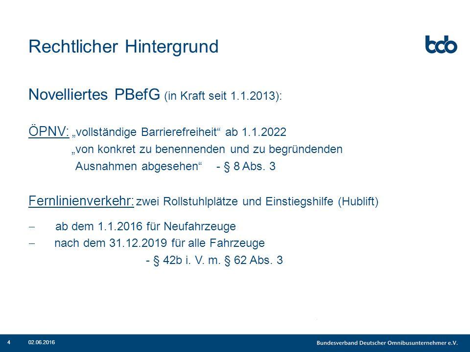 """Rechtlicher Hintergrund Novelliertes PBefG (in Kraft seit 1.1.2013): ÖPNV: """"vollständige Barrierefreiheit"""" ab 1.1.2022 """"von konkret zu benennenden und"""
