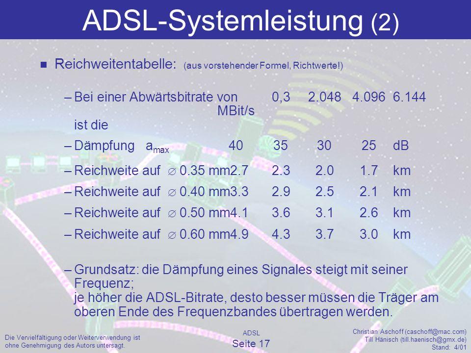 ADSL Seite 17 Christian Aschoff (caschoff@mac.com) Till Hänisch (till.haenisch@gmx.de) Stand: 4/01 Die Vervielfältigung oder Weiterverwendung ist ohne Genehmigung des Autors untersagt.