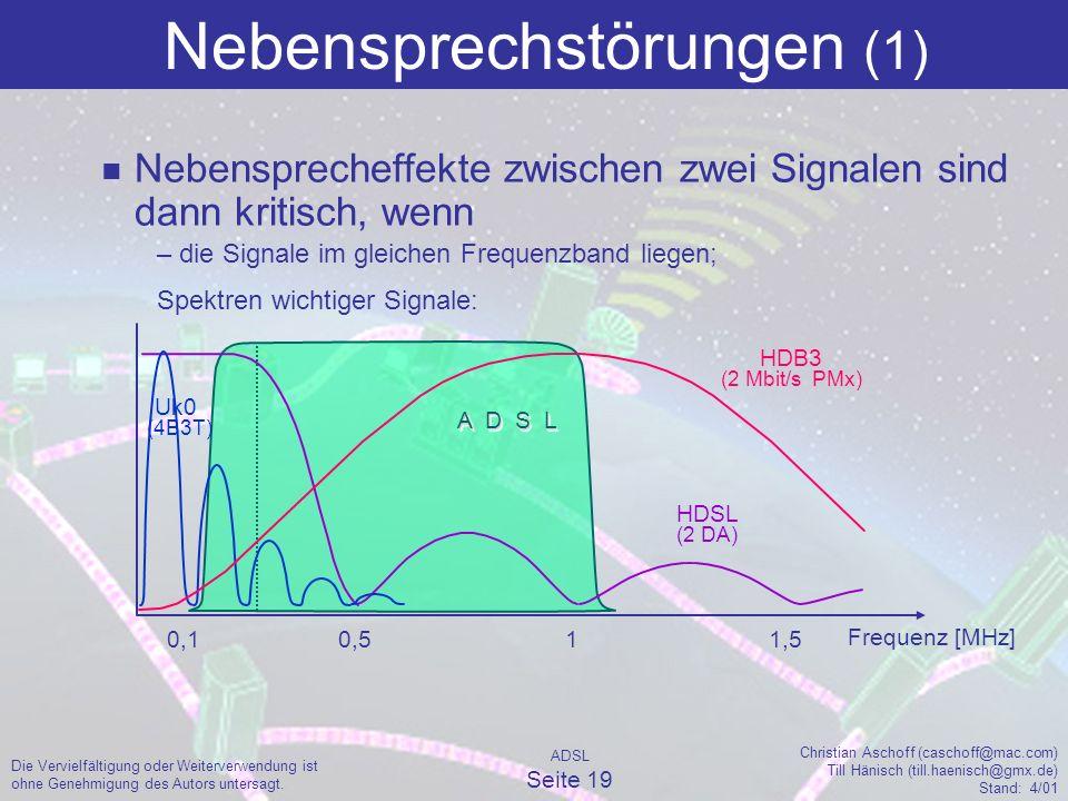 ADSL Seite 19 Christian Aschoff (caschoff@mac.com) Till Hänisch (till.haenisch@gmx.de) Stand: 4/01 Die Vervielfältigung oder Weiterverwendung ist ohne Genehmigung des Autors untersagt.