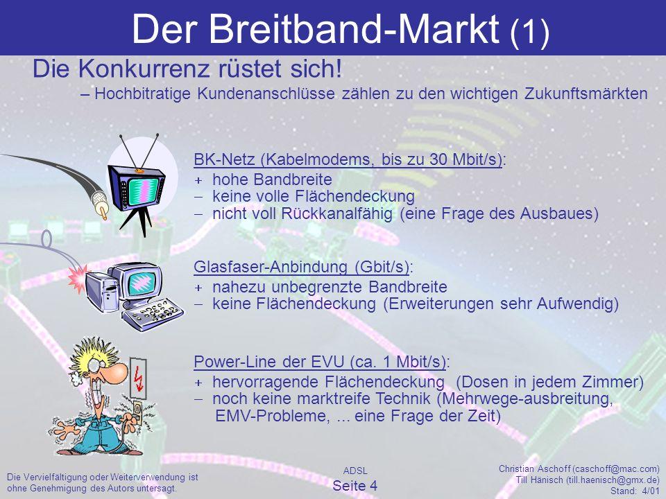 ADSL Seite 4 Christian Aschoff (caschoff@mac.com) Till Hänisch (till.haenisch@gmx.de) Stand: 4/01 Die Vervielfältigung oder Weiterverwendung ist ohne Genehmigung des Autors untersagt.