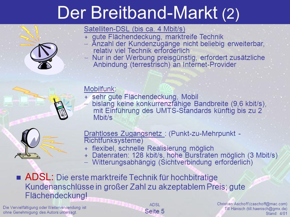 ADSL Seite 5 Christian Aschoff (caschoff@mac.com) Till Hänisch (till.haenisch@gmx.de) Stand: 4/01 Die Vervielfältigung oder Weiterverwendung ist ohne Genehmigung des Autors untersagt.
