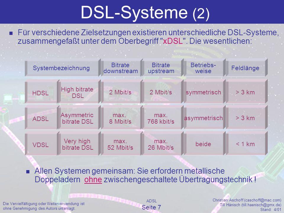 ADSL Seite 8 Christian Aschoff (caschoff@mac.com) Till Hänisch (till.haenisch@gmx.de) Stand: 4/01 Die Vervielfältigung oder Weiterverwendung ist ohne Genehmigung des Autors untersagt.