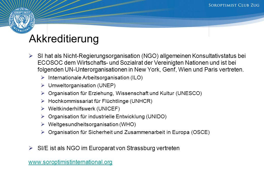 Akkreditierung  SI hat als Nicht-Regierungsorganisation (NGO) allgemeinen Konsultativstatus bei ECOSOC dem Wirtschafts- und Sozialrat der Vereinigten Nationen und ist bei folgenden UN-Unterorganisationen in New York, Genf, Wien und Paris vertreten.