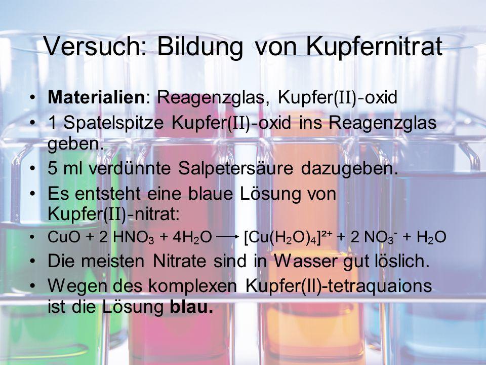 Versuch: Bildung von Kupfernitrat Materialien: Reagenzglas, Kupfer (II)- oxid 1 Spatelspitze Kupfer (II)- oxid ins Reagenzglas geben. 5 ml verdünnte S