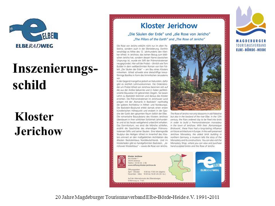 Inszenierungs- schild 20 Jahre Magdeburger Tourismusverband Elbe-Börde-Heide e.V.