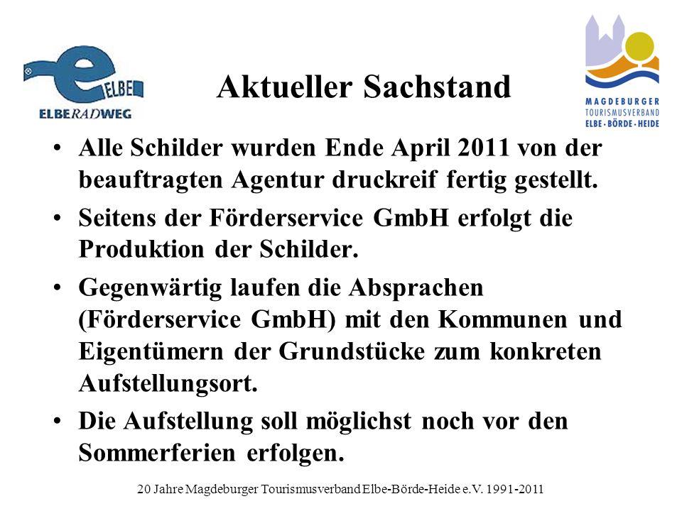 Aktueller Sachstand Alle Schilder wurden Ende April 2011 von der beauftragten Agentur druckreif fertig gestellt.