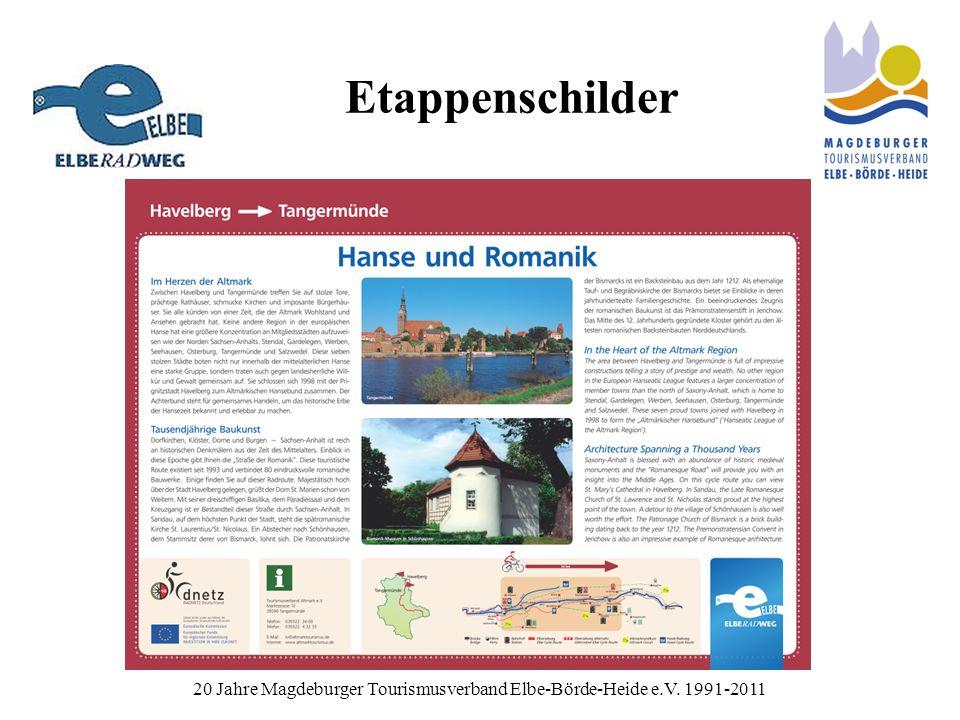 Etappenschilder 20 Jahre Magdeburger Tourismusverband Elbe-Börde-Heide e.V. 1991-2011