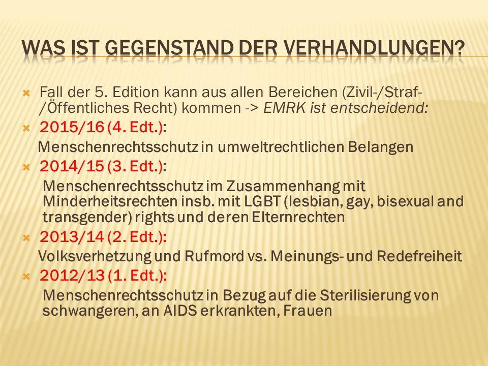  Fall der 5. Edition kann aus allen Bereichen (Zivil-/Straf- /Öffentliches Recht) kommen -> EMRK ist entscheidend:  2015/16 (4. Edt.): Menschenrecht