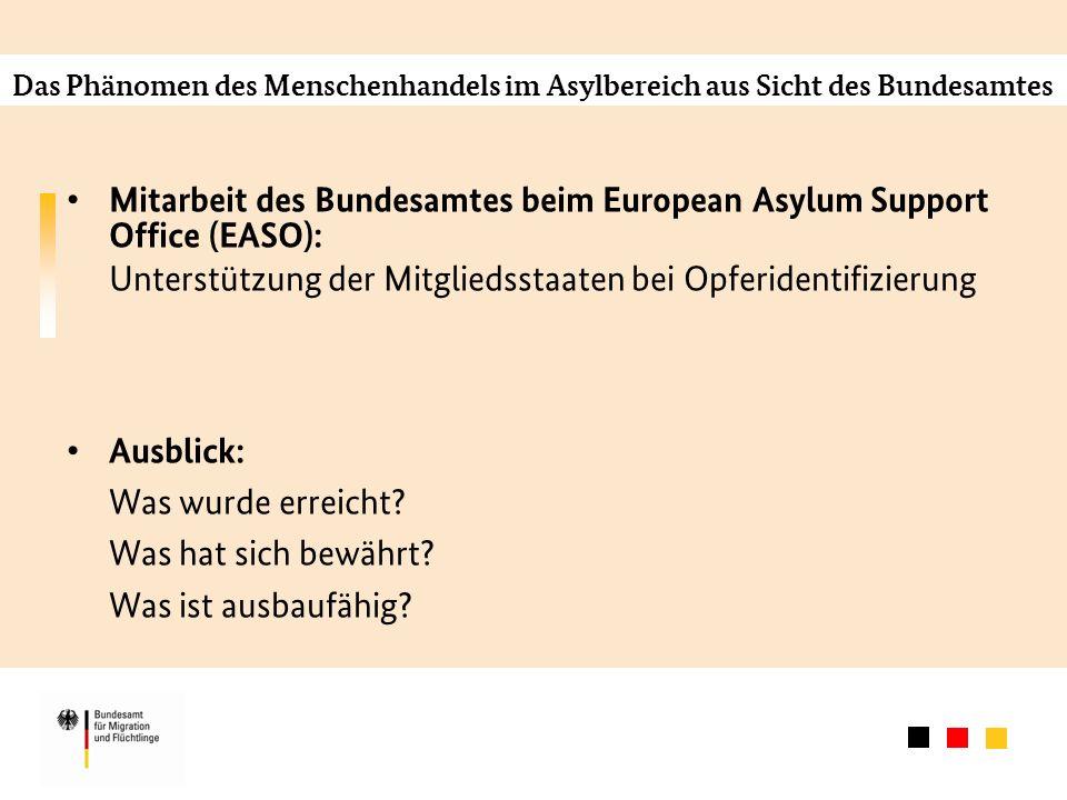 Das Phänomen des Menschenhandels im Asylbereich aus Sicht des Bundesamtes Mitarbeit des Bundesamtes beim European Asylum Support Office (EASO): Unterstützung der Mitgliedsstaaten bei Opferidentifizierung Ausblick: Was wurde erreicht.