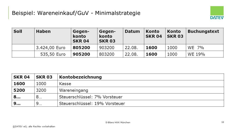 ©DATEV eG; alle Rechte vorbehalten SollHabenGegen- konto SKR 04 Gegen- konto SKR 03 DatumKonto SKR 04 Konto SKR 03 Buchungstext 3.424,00 Euro80520090320022.08.16001000WE 7% 535,50 Euro90520080320022.08.16001000WE 19% E-Bilanz HWK München 16 Beispiel: Wareneinkauf/GuV - Minimalstrategie SKR 04SKR 03Kontobezeichnung 16001000Kasse 52003200Wareneingang 8… Steuerschlüssel: 7% Vorsteuer 9… Steuerschlüssel: 19% Vorsteuer
