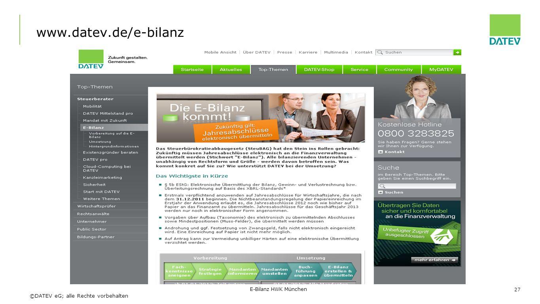 ©DATEV eG; alle Rechte vorbehalten www.datev.de/e-bilanz 27 E-Bilanz HWK München