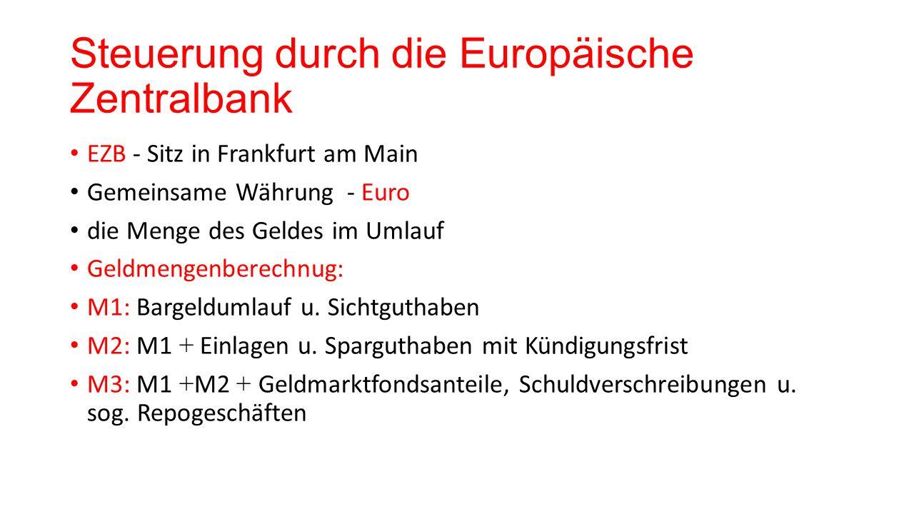 Steuerung durch die Europäische Zentralbank EZB - Sitz in Frankfurt am Main Gemeinsame Währung - Euro die Menge des Geldes im Umlauf Geldmengenberechn