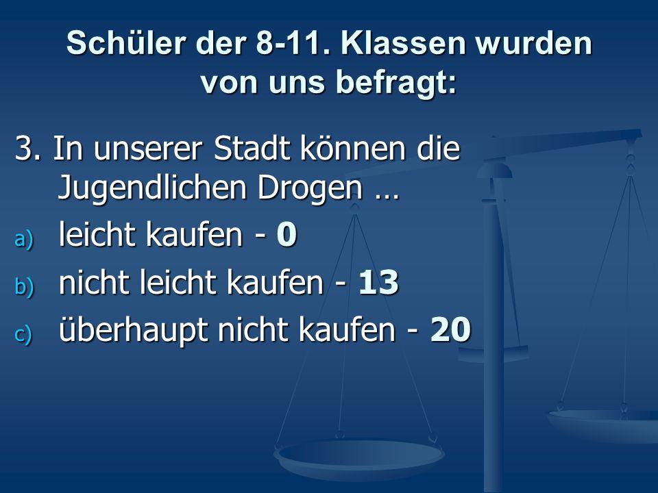 Schüler der 8-11. Klassen wurden von uns befragt: 3. In unserer Stadt können die Jugendlichen Drogen … a) leicht kaufen - 0 b) nicht leicht kaufen - 1