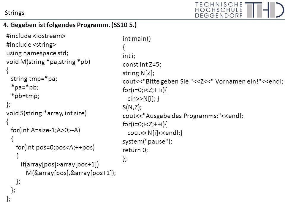 Strings 4.1 Was gibt das Programm am Bildschirm aus.