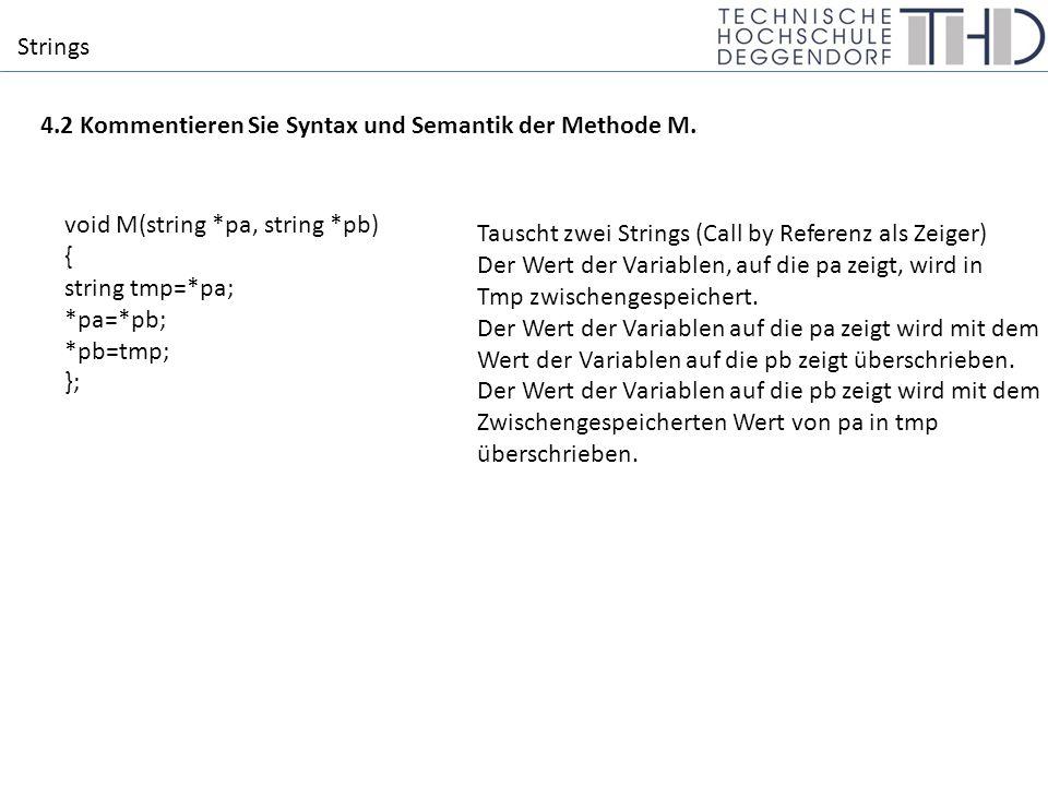 Strings 4.2 Kommentieren Sie Syntax und Semantik der Methode M.