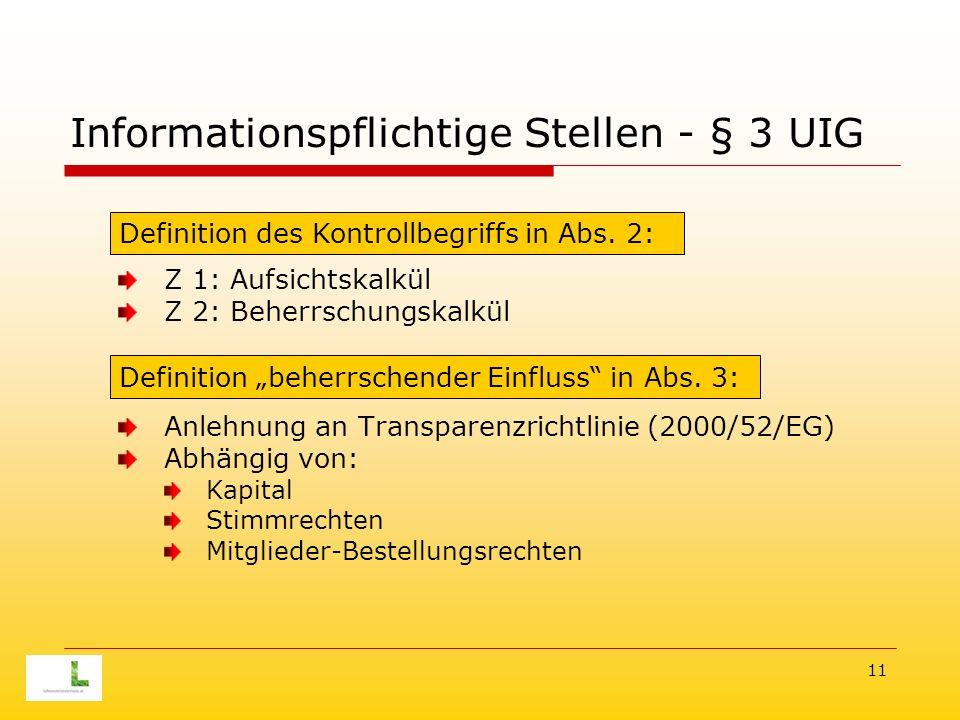 11 Informationspflichtige Stellen - § 3 UIG Z 1: Aufsichtskalkül Z 2: Beherrschungskalkül Anlehnung an Transparenzrichtlinie (2000/52/EG) Abhängig von: Kapital Stimmrechten Mitglieder-Bestellungsrechten Definition des Kontrollbegriffs in Abs.