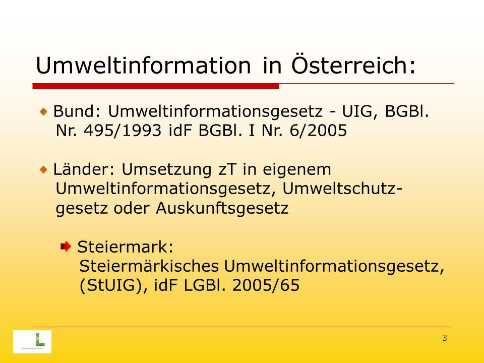 3 Umweltinformation in Österreich: Bund: Umweltinformationsgesetz - UIG, BGBl.