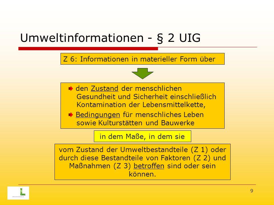 9 Umweltinformationen - § 2 UIG Z 6: Informationen in materieller Form über den Zustand der menschlichen Gesundheit und Sicherheit einschließlich Kontamination der Lebensmittelkette, Bedingungen für menschliches Leben sowie Kulturstätten und Bauwerke vom Zustand der Umweltbestandteile (Z 1) oder durch diese Bestandteile von Faktoren (Z 2) und Maßnahmen (Z 3) betroffen sind oder sein können.