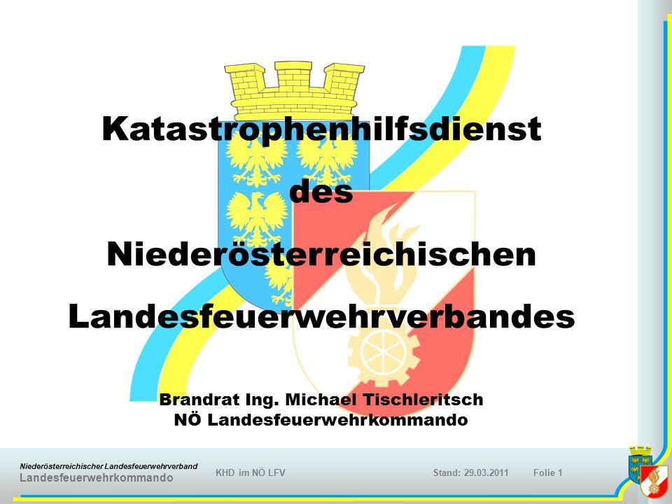 Niederösterreichischer Landesfeuerwehrverband Landesfeuerwehrkommando KHD im NÖ LFVFolie 1Stand: 29.03.2011 Katastrophenhilfsdienst des Niederösterreichischen Landesfeuerwehrverbandes Brandrat Ing.