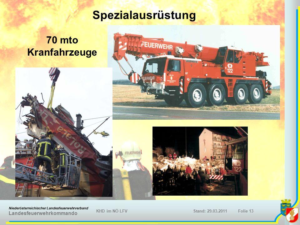 Niederösterreichischer Landesfeuerwehrverband Landesfeuerwehrkommando KHD im NÖ LFVFolie 13Stand: 29.03.2011 70 mto Kranfahrzeuge Spezialausrüstung