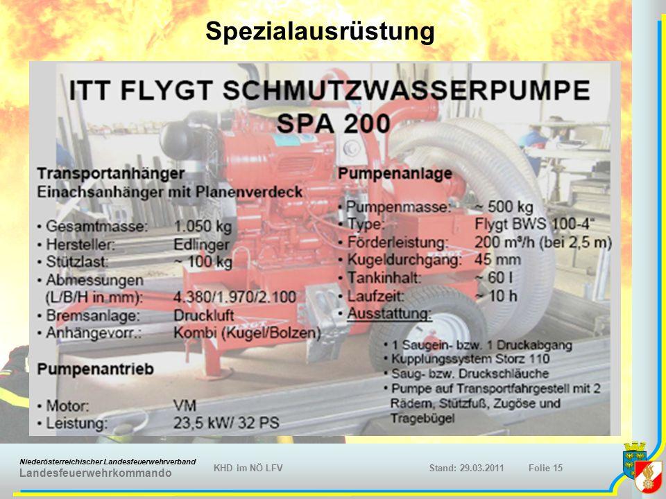 Niederösterreichischer Landesfeuerwehrverband Landesfeuerwehrkommando KHD im NÖ LFVFolie 15Stand: 29.03.2011 Spezialausrüstung