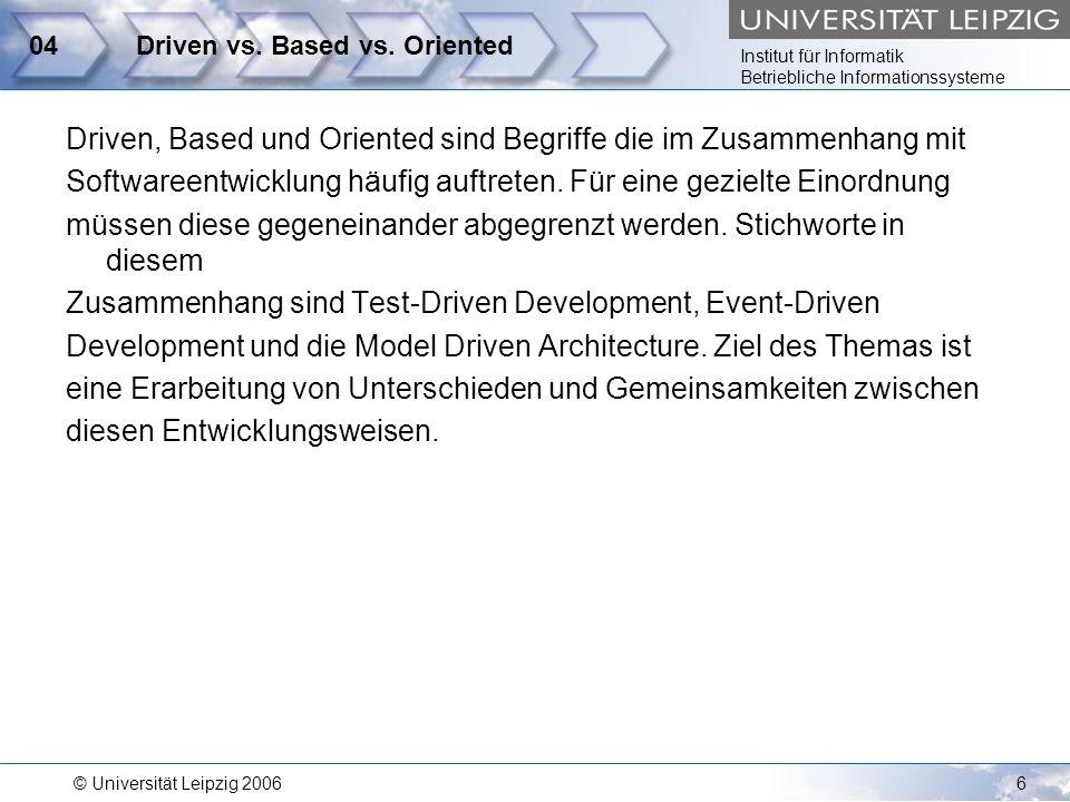 Institut für Informatik Betriebliche Informationssysteme © Universität Leipzig 20067 05Modelloperationen Ein wesentliches Konzept im Kontext von Model-Driven Ansätzen sind Modelloperationen.
