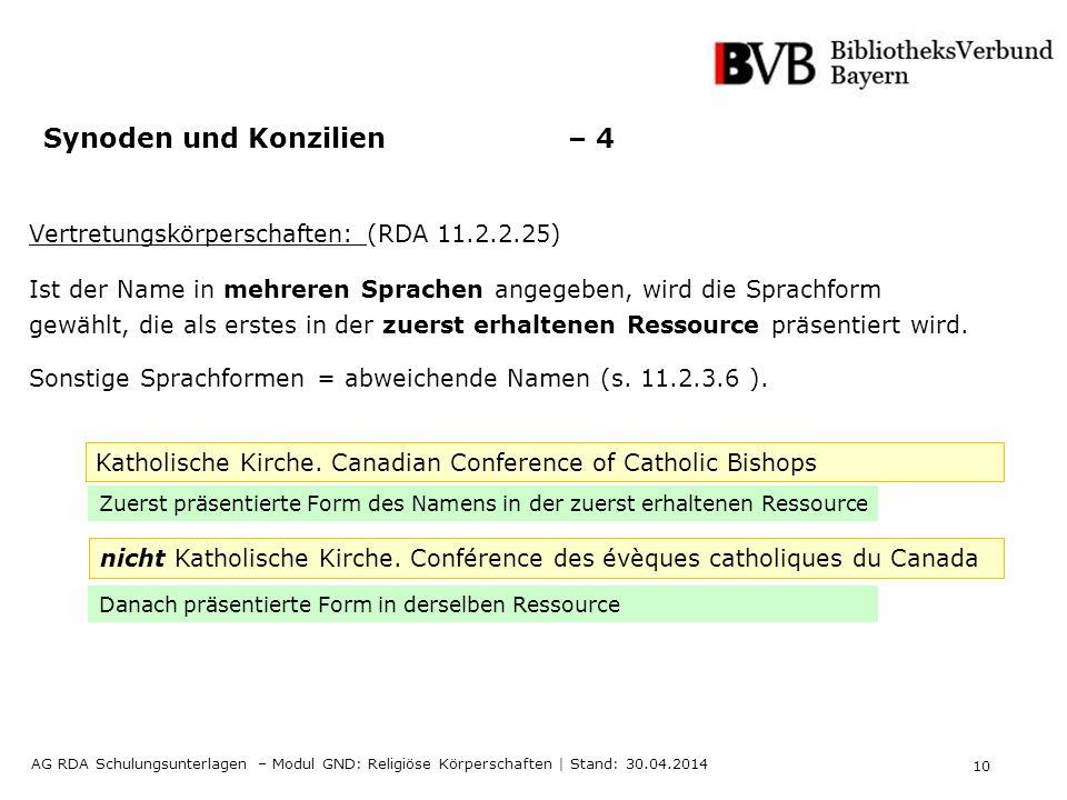 10 AG RDA Schulungsunterlagen – Modul GND: Religiöse Körperschaften | Stand: 30.04.2014 Synoden und Konzilien – 4 Vertretungskörperschaften: (RDA 11.2