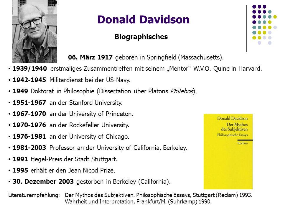 Donald Davidson Biographisches 06.März 1917 geboren in Springfield (Massachusetts).