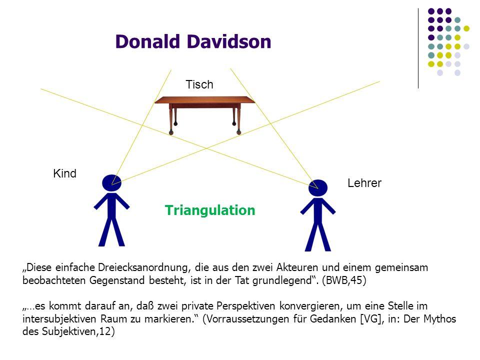 """Donald Davidson Triangulation Tisch Lehrer Kind """"Diese einfache Dreiecksanordnung, die aus den zwei Akteuren und einem gemeinsam beobachteten Gegenstand besteht, ist in der Tat grundlegend ."""