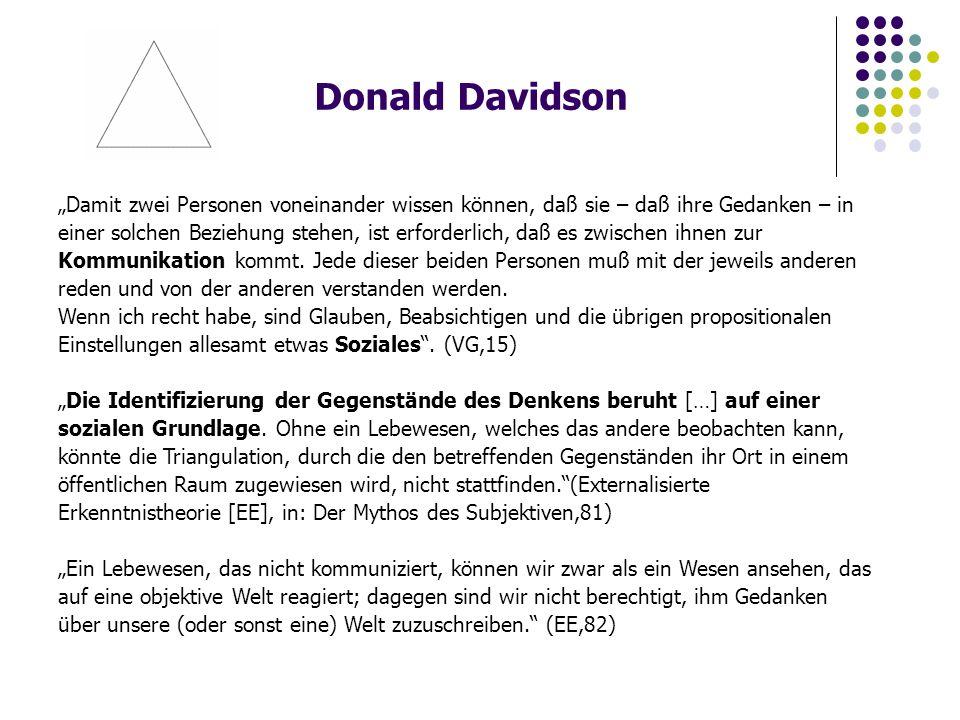 """Donald Davidson """"Damit zwei Personen voneinander wissen können, daß sie – daß ihre Gedanken – in einer solchen Beziehung stehen, ist erforderlich, daß es zwischen ihnen zur Kommunikation kommt."""