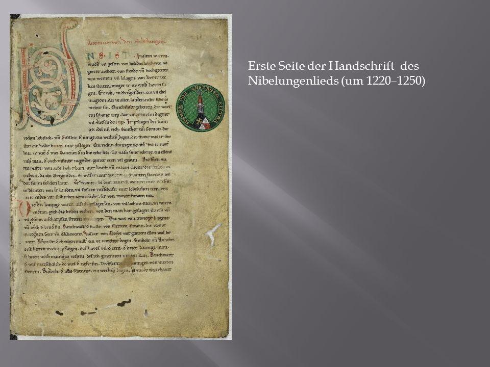 Erste Seite der Handschrift des Nibelungenlieds (um 1220–1250)