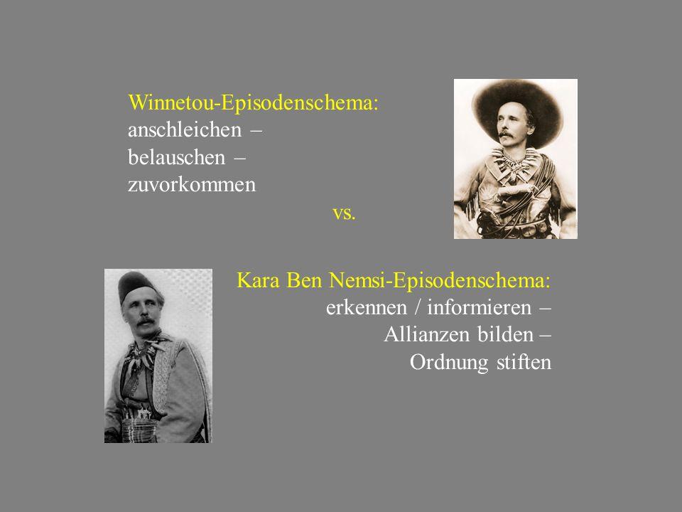 Winnetou-Episodenschema: anschleichen – belauschen – zuvorkommen vs. Kara Ben Nemsi-Episodenschema: erkennen / informieren – Allianzen bilden – Ordnun