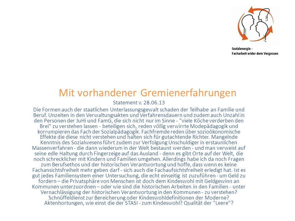 Mit vorhandener Gremienerfahrungen Statement v.