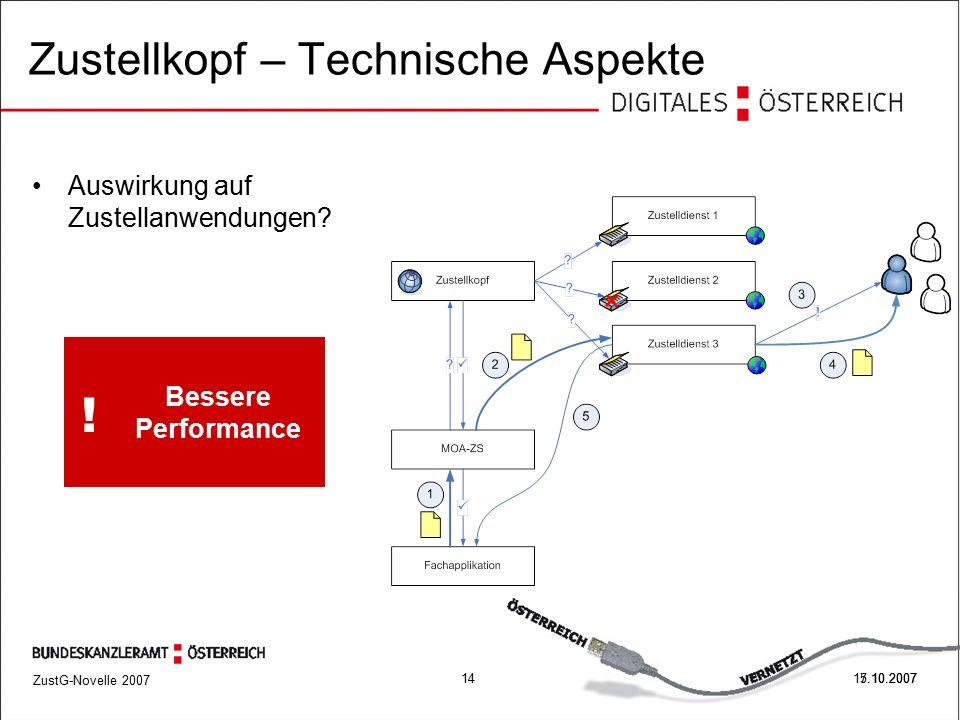 ZustG-Novelle 2007 1417.10.2007 Zustellkopf – Technische Aspekte 5.10.2007 Auswirkung auf Zustellanwendungen.