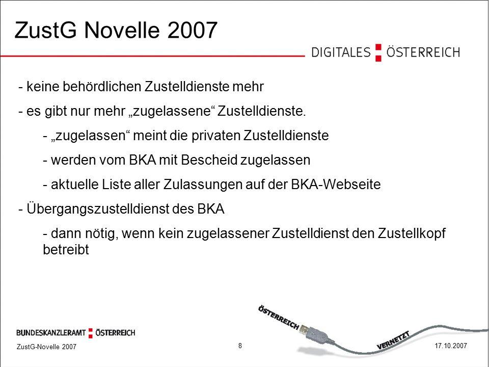 ZustG-Novelle 2007 917.10.2007 Zustellkopf ist Datenbank aller registrierter Benutzer ZustG Novelle 2007