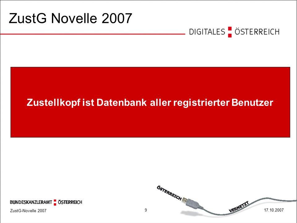 ZustG-Novelle 2007 1017.10.2007 ZustG Novelle 2007 - versendende Behörde muss vor jeder Zustellung den Zustellkopf abfragen, ob der Empfänger bei einem elektr.