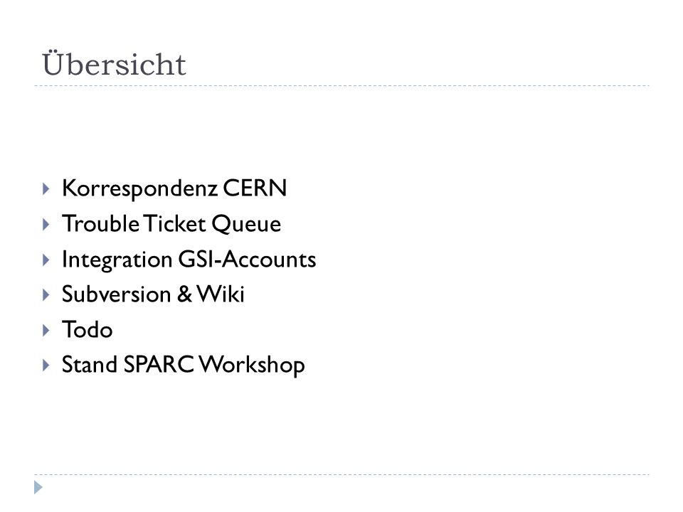 """Korrespondenz CERN  """"Are there any regular Indico meetings we could join in."""