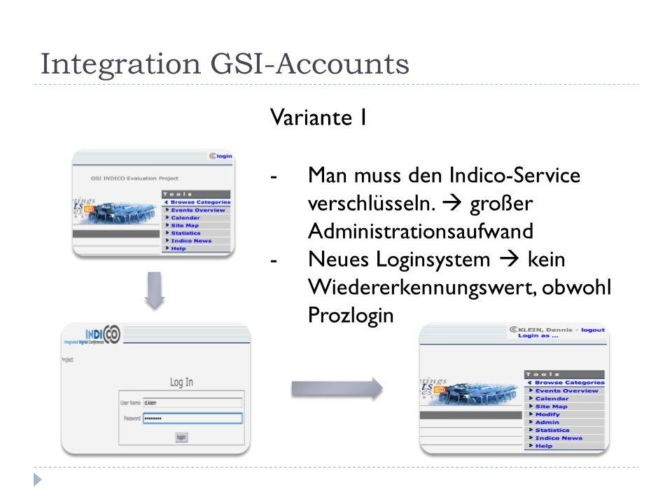 Integration GSI-Accounts Variante 1 -Man muss den Indico-Service verschlüsseln.  großer Administrationsaufwand -Neues Loginsystem  kein Wiedererkenn