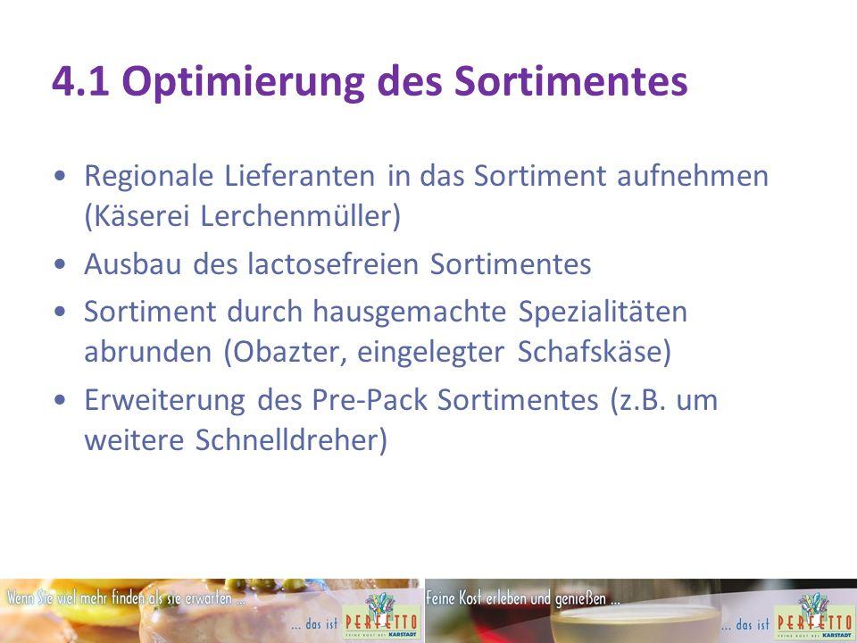 4.1 Optimierung des Sortimentes Regionale Lieferanten in das Sortiment aufnehmen (Käserei Lerchenmüller) Ausbau des lactosefreien Sortimentes Sortiment durch hausgemachte Spezialitäten abrunden (Obazter, eingelegter Schafskäse) Erweiterung des Pre-Pack Sortimentes (z.B.
