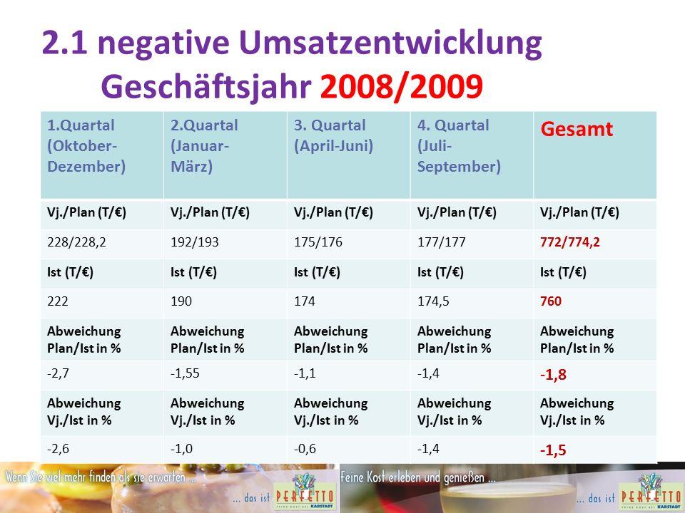 2.1 negative Umsatzentwicklung Geschäftsjahr 2008/2009 1.Quartal (Oktober- Dezember) 2.Quartal (Januar- März) 3.