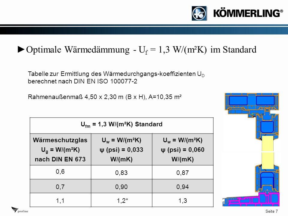Seite 7 ► Optimale Wärmedämmung - U f = 1,3 W/(m²K) im Standard U fm = 1,3 W/(m²K) Standard Wärmeschutzglas U g = W/(m²K) nach DIN EN 673 U w = W/(m²K) ψ (psi) = 0,033 W/(mK) U w = W/(m²K) ψ (psi) = 0,060 W/(mK) 0,6 0,830,87 0,70,900,94 1,1 1,2*1,3 Tabelle zur Ermittlung des Wärmedurchgangs-koeffizienten U D berechnet nach DIN EN ISO 100077-2 Rahmenaußenmaß 4,50 x 2,30 m (B x H), A=10,35 m²